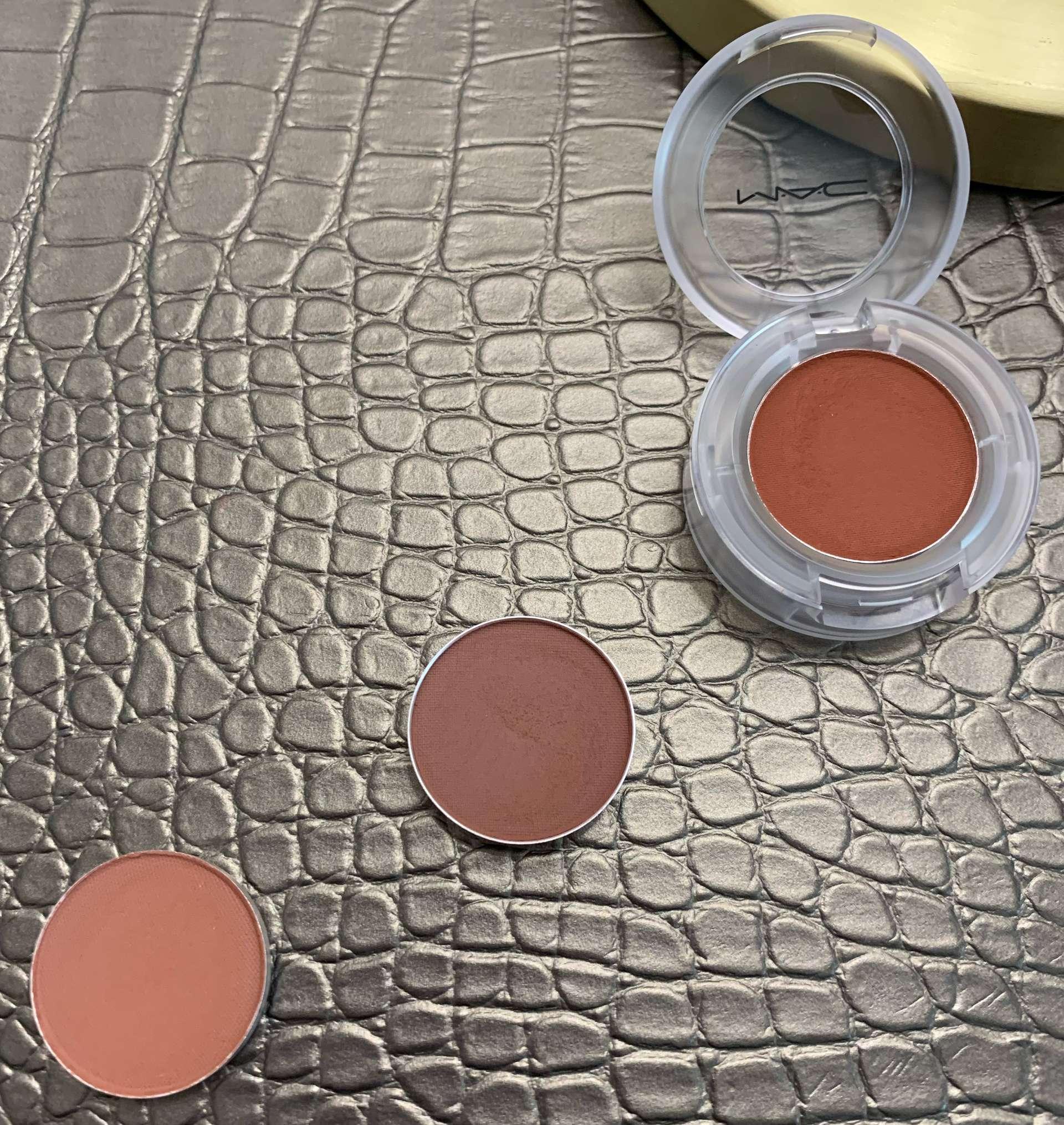 MAC eyeshadows brown script, swiss chocolate, bougie babe (LE) swatches on medium dark skin