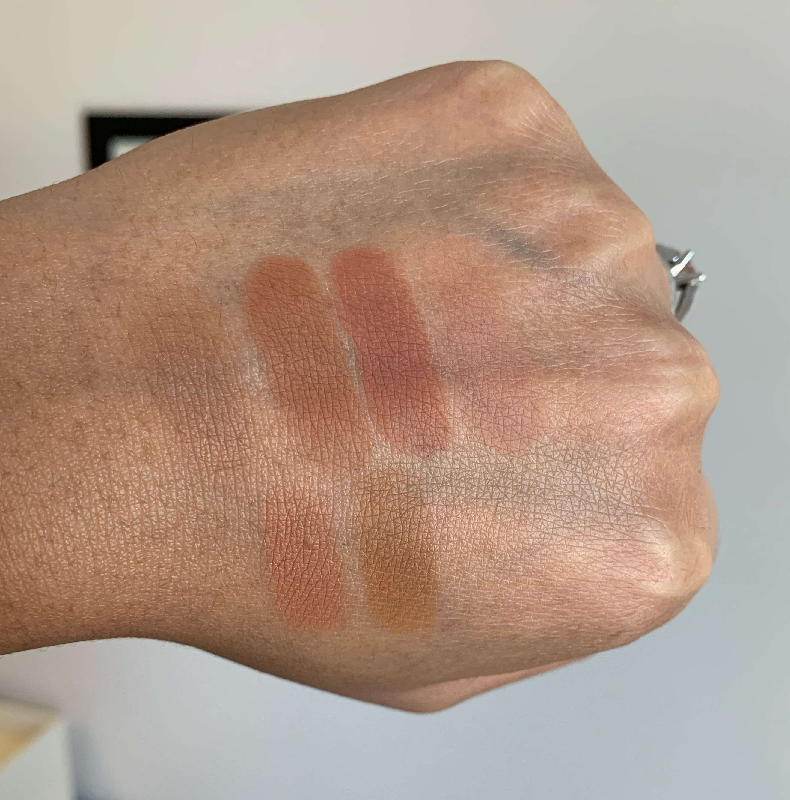 MAC eyeshadow swatches - cork, saddle, brown script, soft brown, texture, uninterrupted dark skin