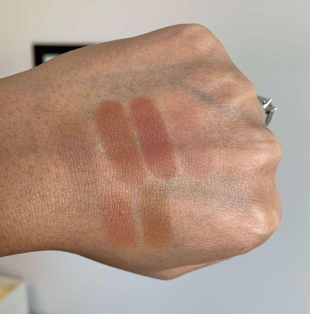 MAC eyeshadow swatches - cork, saddle, brown script, soft brown, texture, uninterrupted medium dark skin
