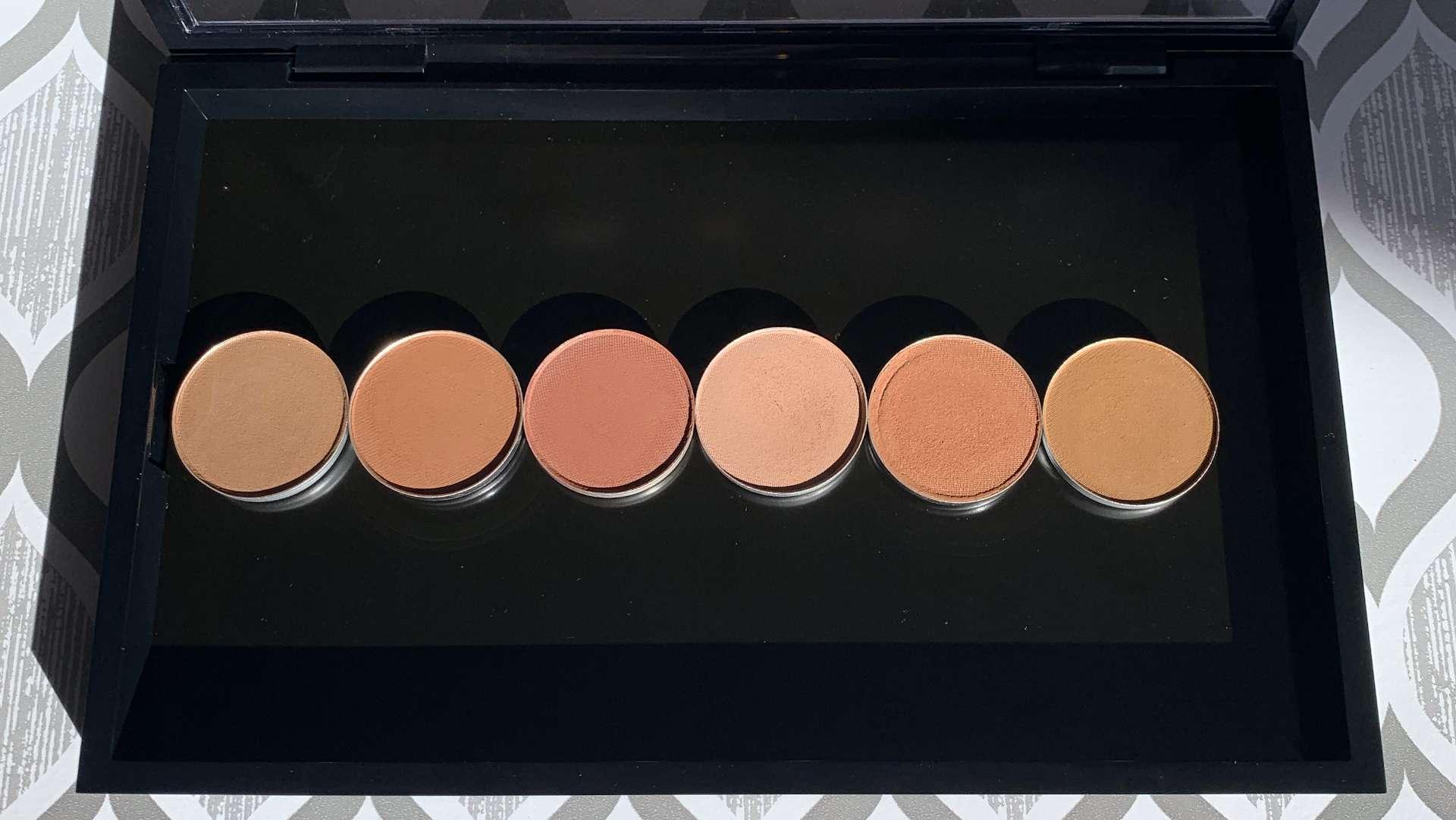 MAC eyeshadows cork, saddle, brown script, soft brown, texture, uninterrupted swatches on medium dark skin