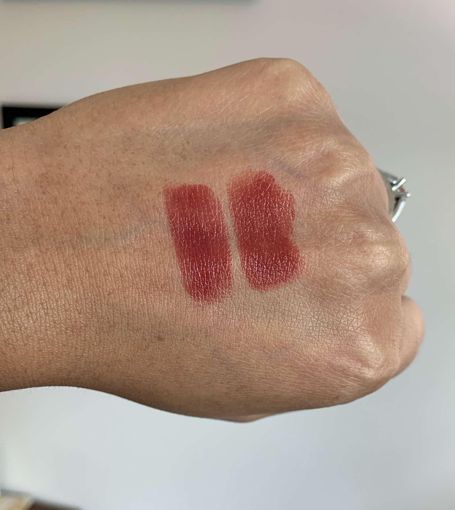 Chanel Rouge Coco Bloom 114 Glow vs Revlon Rum Raisin Swatches