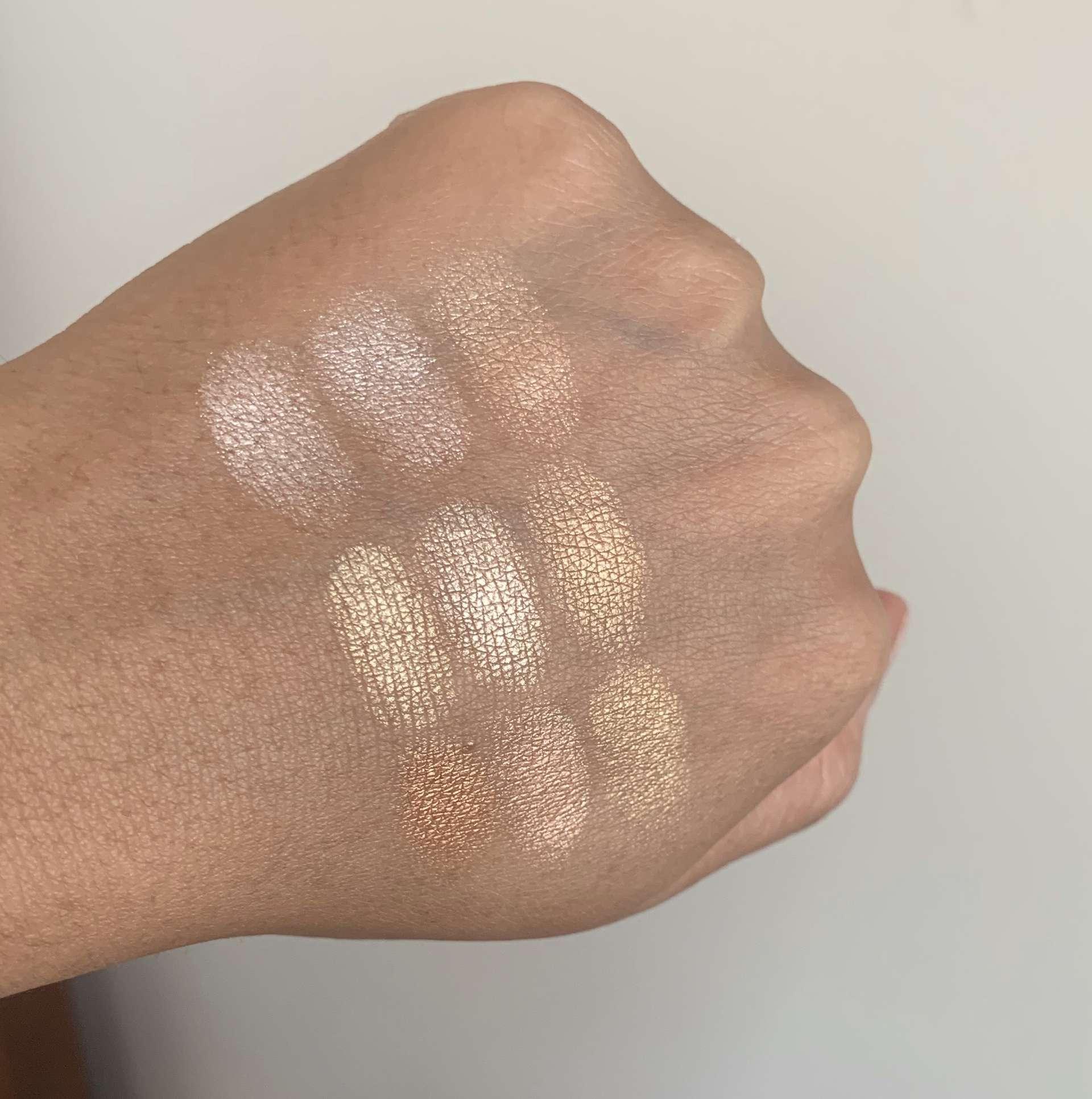 MAC Hyper Real Glow Palettes (flash + awe, get it glowin, shimmy peach) swatches dark skin