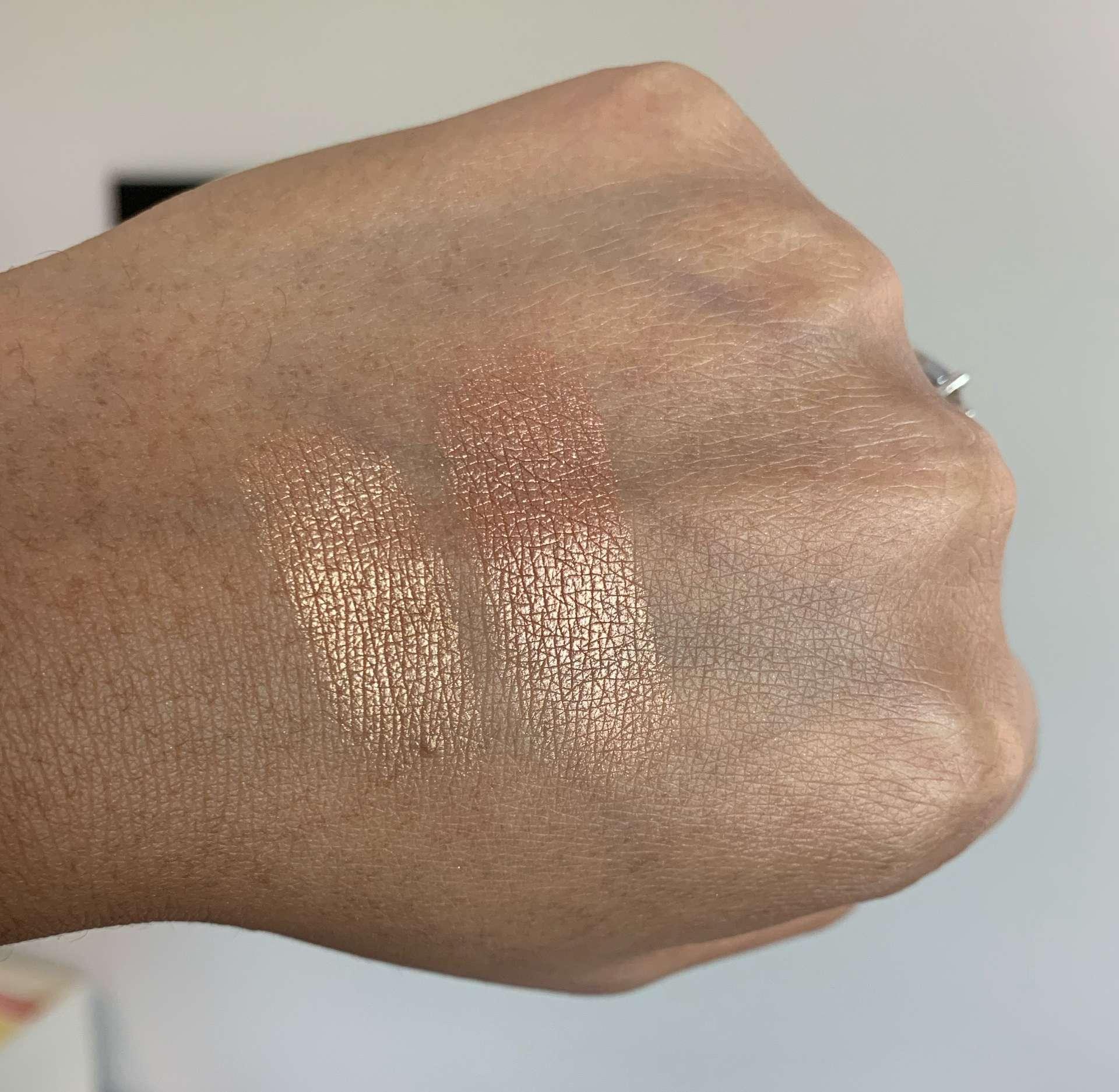 Makeup Geek Highlighters Sunlight and Firework Swatches dark skin