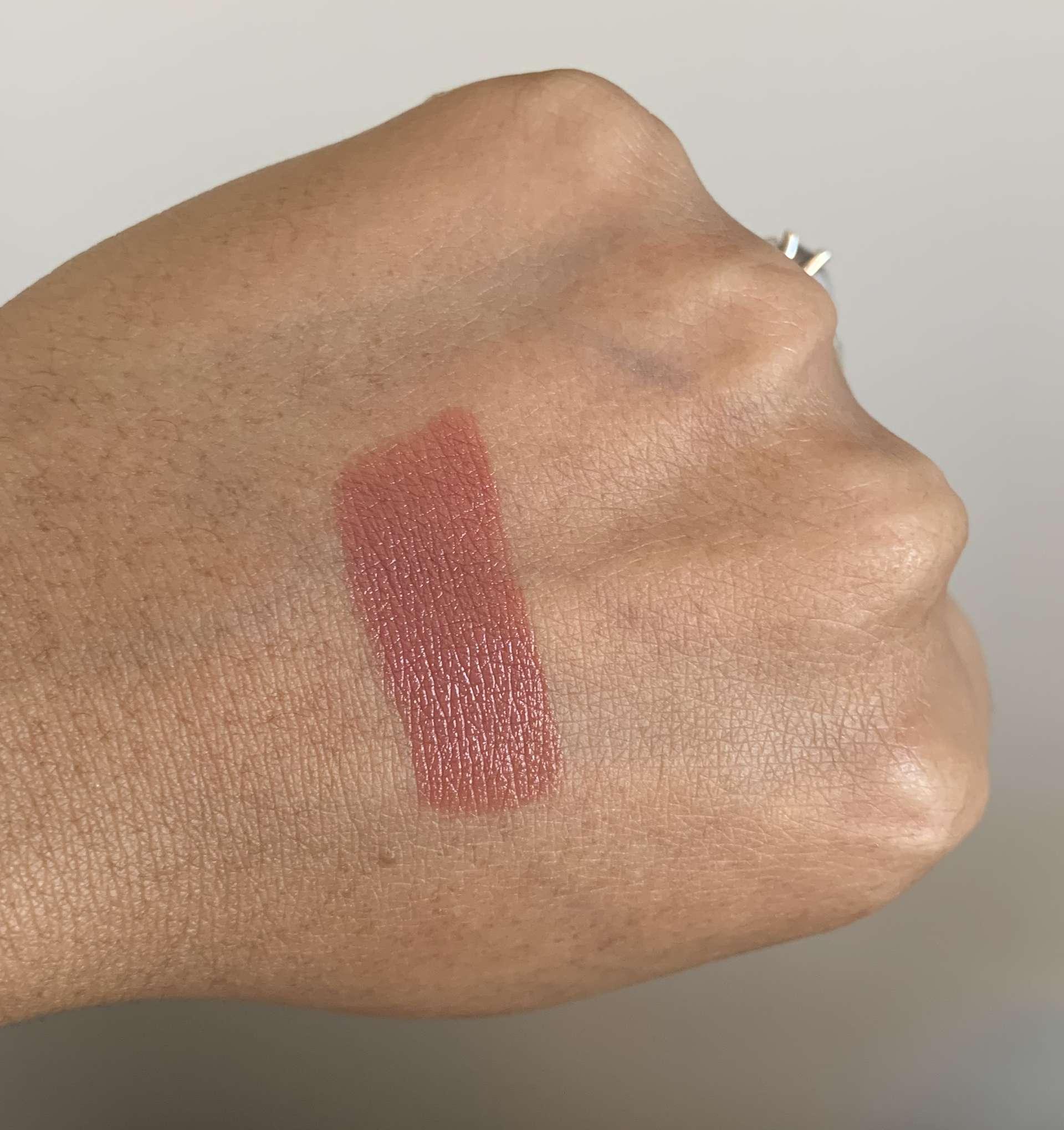 Bobbi Brown Luxe Lip Color Swatches on medium dark skin (Bahama Brown, Downtown Plum, Pink Buff)