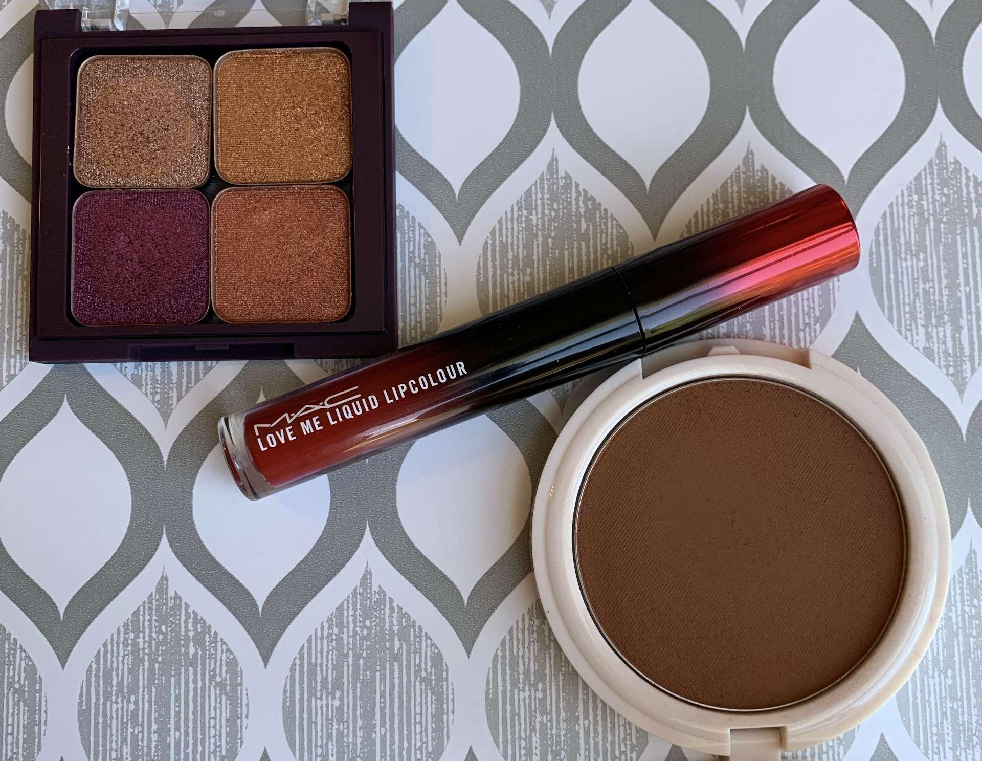 Coloured Raine Cinna-Bae Bronzer, MAC Love Me Liquid Lip Color E for Effortless, and Makeup Geek Foiled Eyeshadows