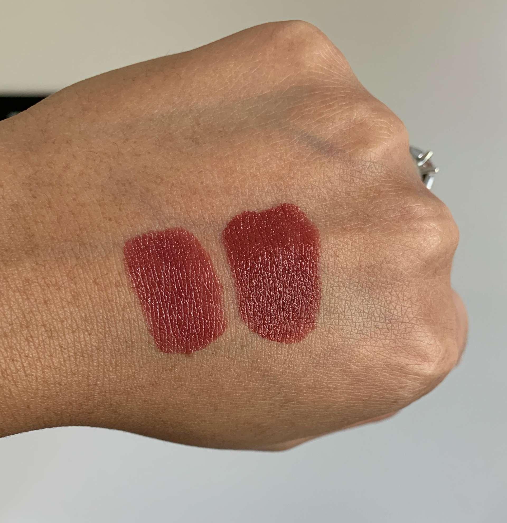 MAC Bated Breath Love Me lipstick vs Liquid Lip Colour Swatches on medium dark skin