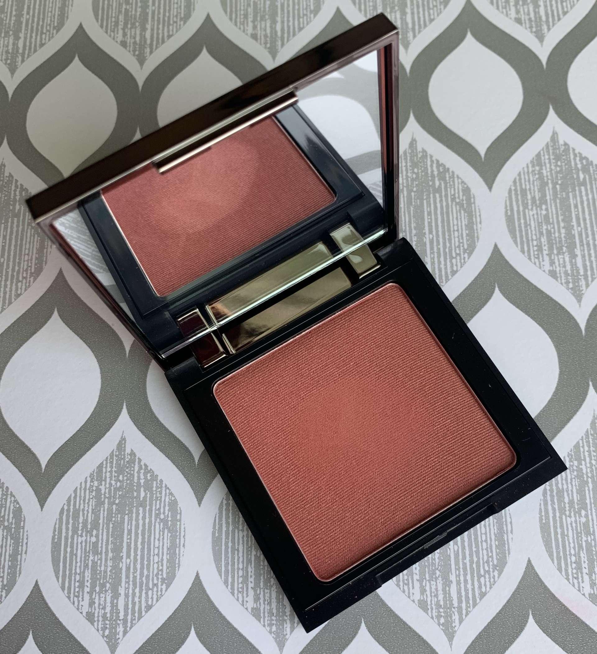 Makeup Geek Blush Covet swatch on medium dark skin