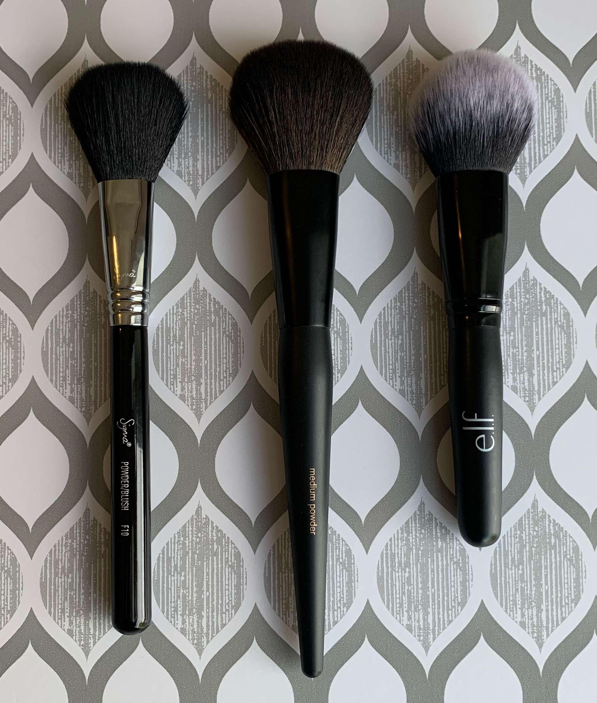 Sigma F10, Sonia Kashuk medium powder, e.l.f. flawless face brush
