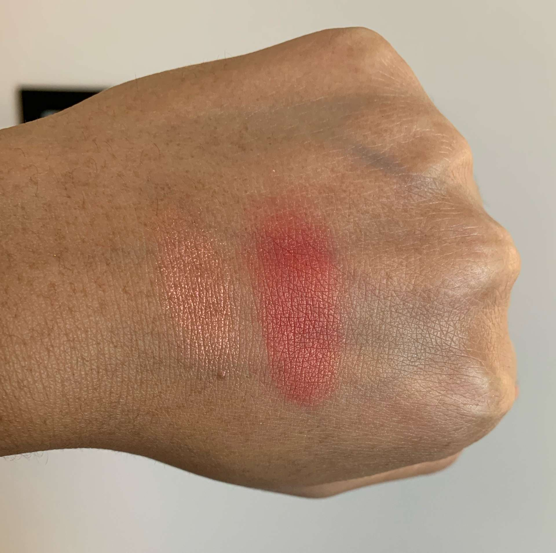 Coloured Raine Peach Loyalty (previously call the shots) Highlight and Blush Duo Swatches on Medium Dark Skin