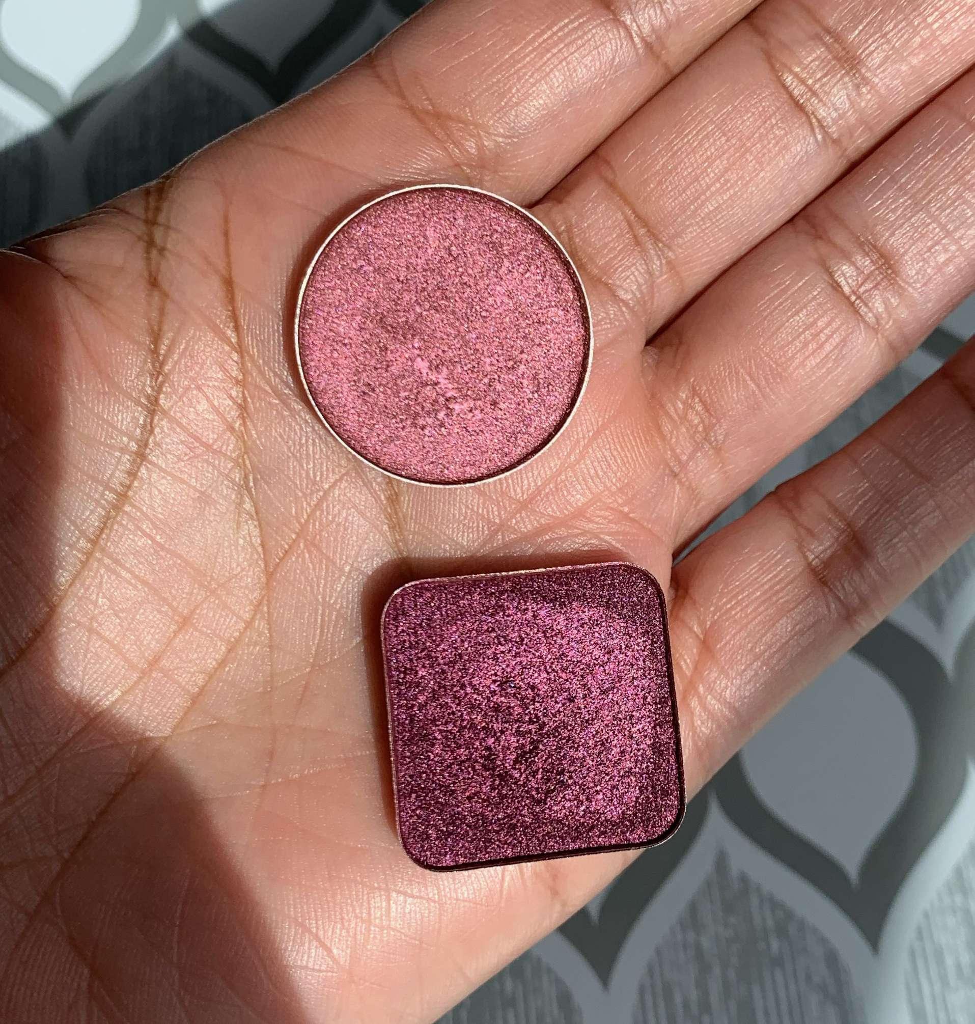 MAC Cranberry Eyeshadow vs Makeup Geek Mystical Foiled Eyeshadow