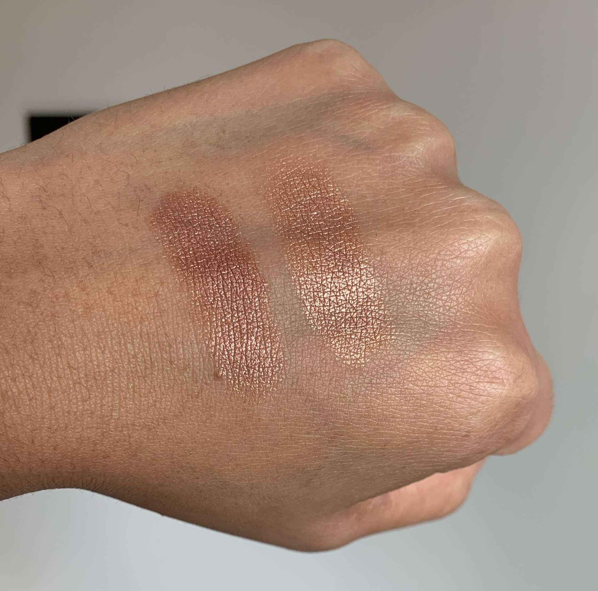 MAC Sand Tropez Foiled Eyeshadow vs Makeup Geek Grandstand Foiled Eyeshadow Swatches on Medium Dark Skin