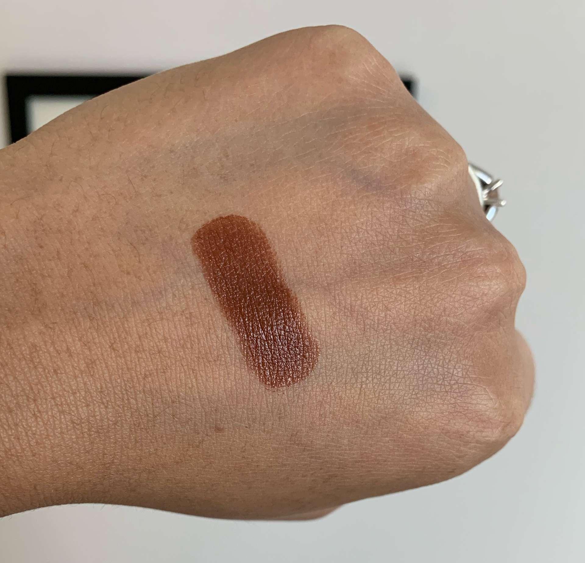 MAC Photo Satin Lipstick Swatch on Medium Dark Skin