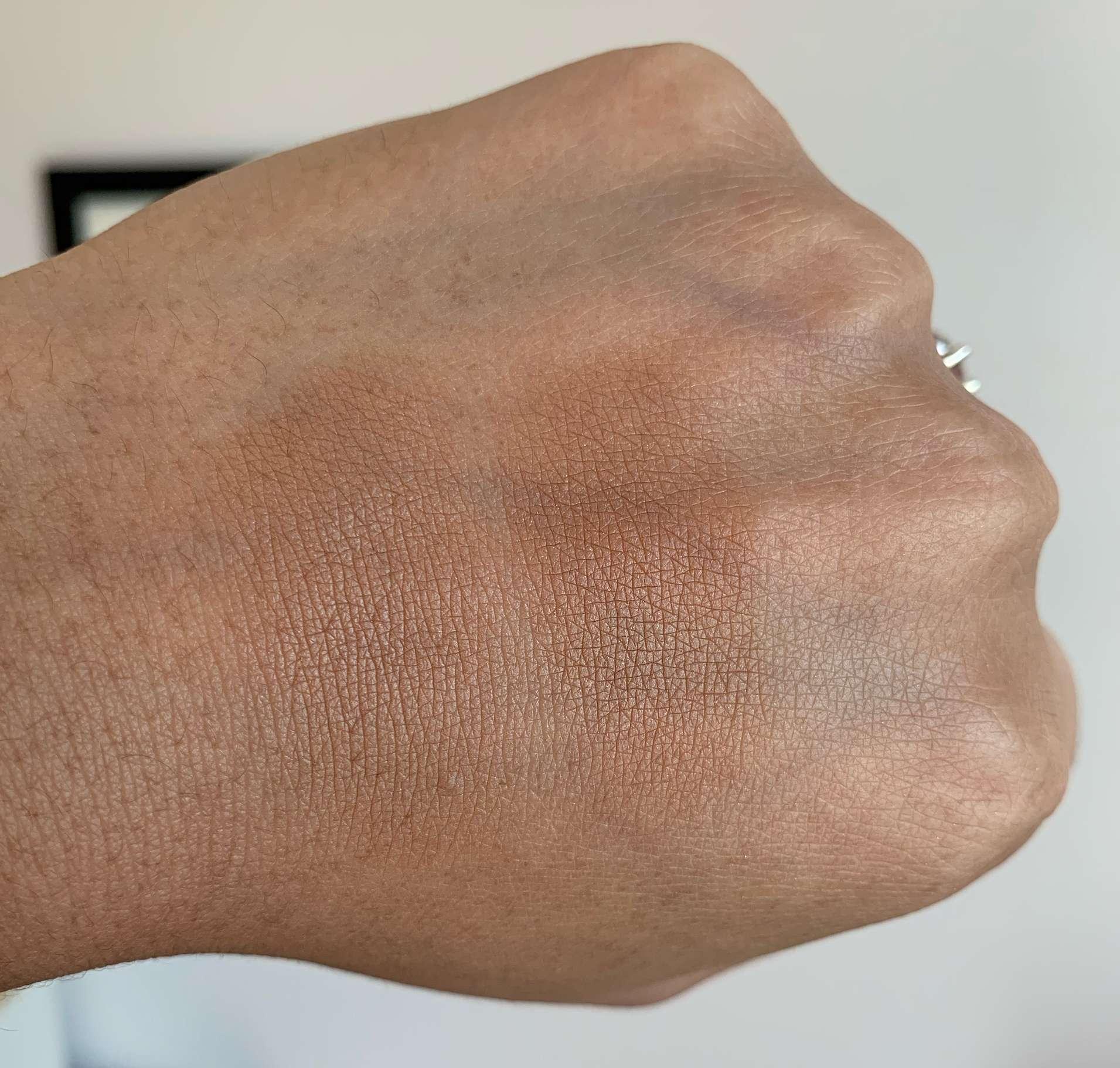 MAC Sun Soaked Strip Bronzer and Becca Ipanema Sun Bronzer Swatches on Medium Dark Skin