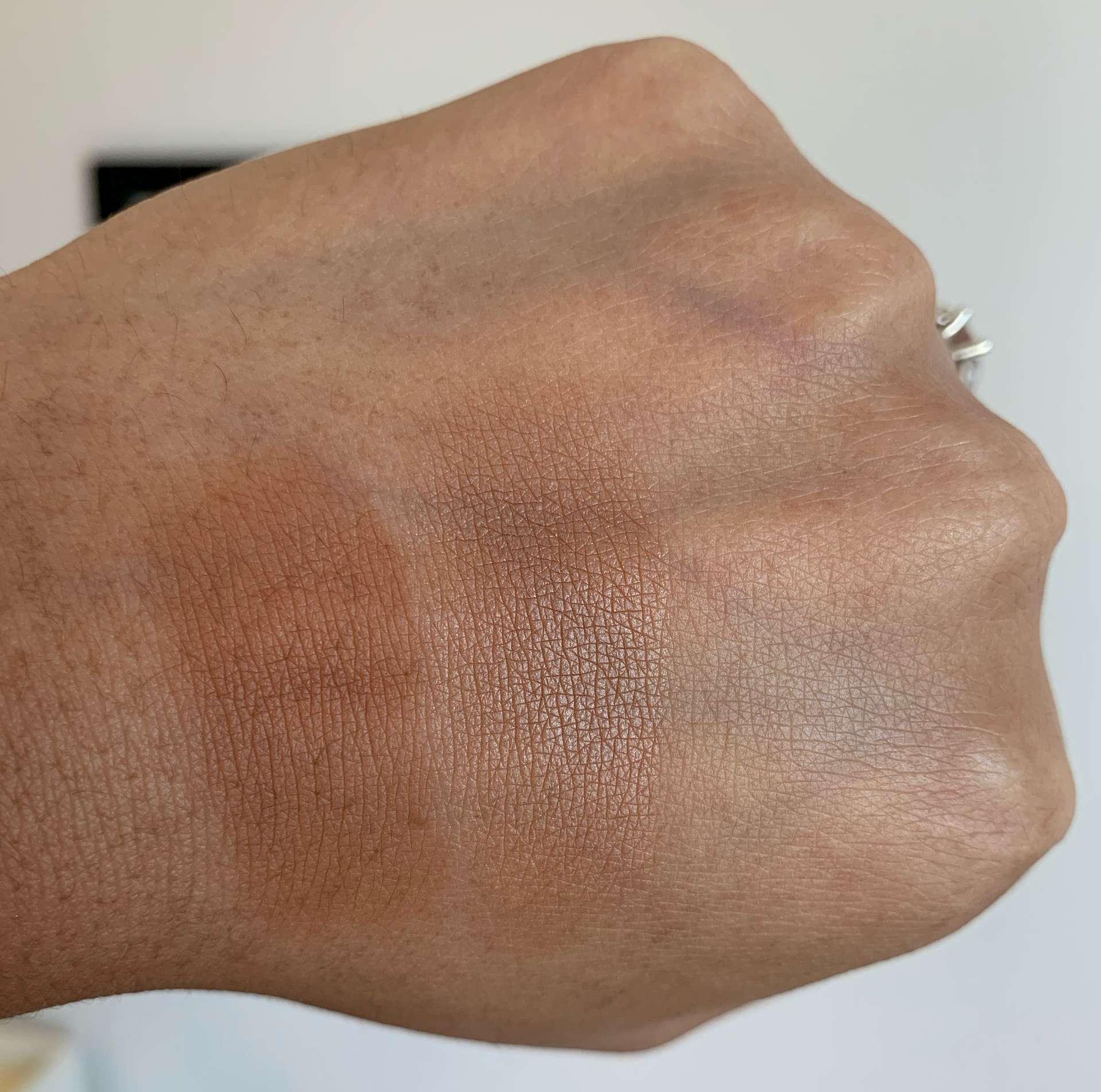 Coloured Raine Cinna-Bae Bronzer and MAC Sun Soaked Strip Bronzer Swatches on Medium Dark Skin