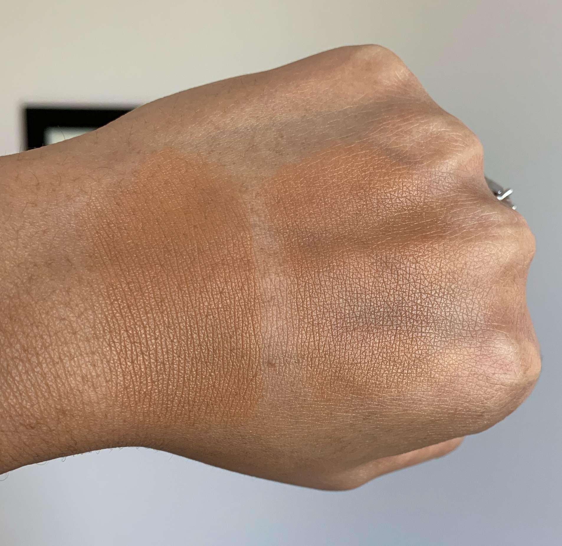 MAC Pro Longwear Concealer in NC45 (left) and Laura Mercier Flawless Fusion Ultra-Longwear Concealer in 5W (right) Swatches on Medium Dark Skin
