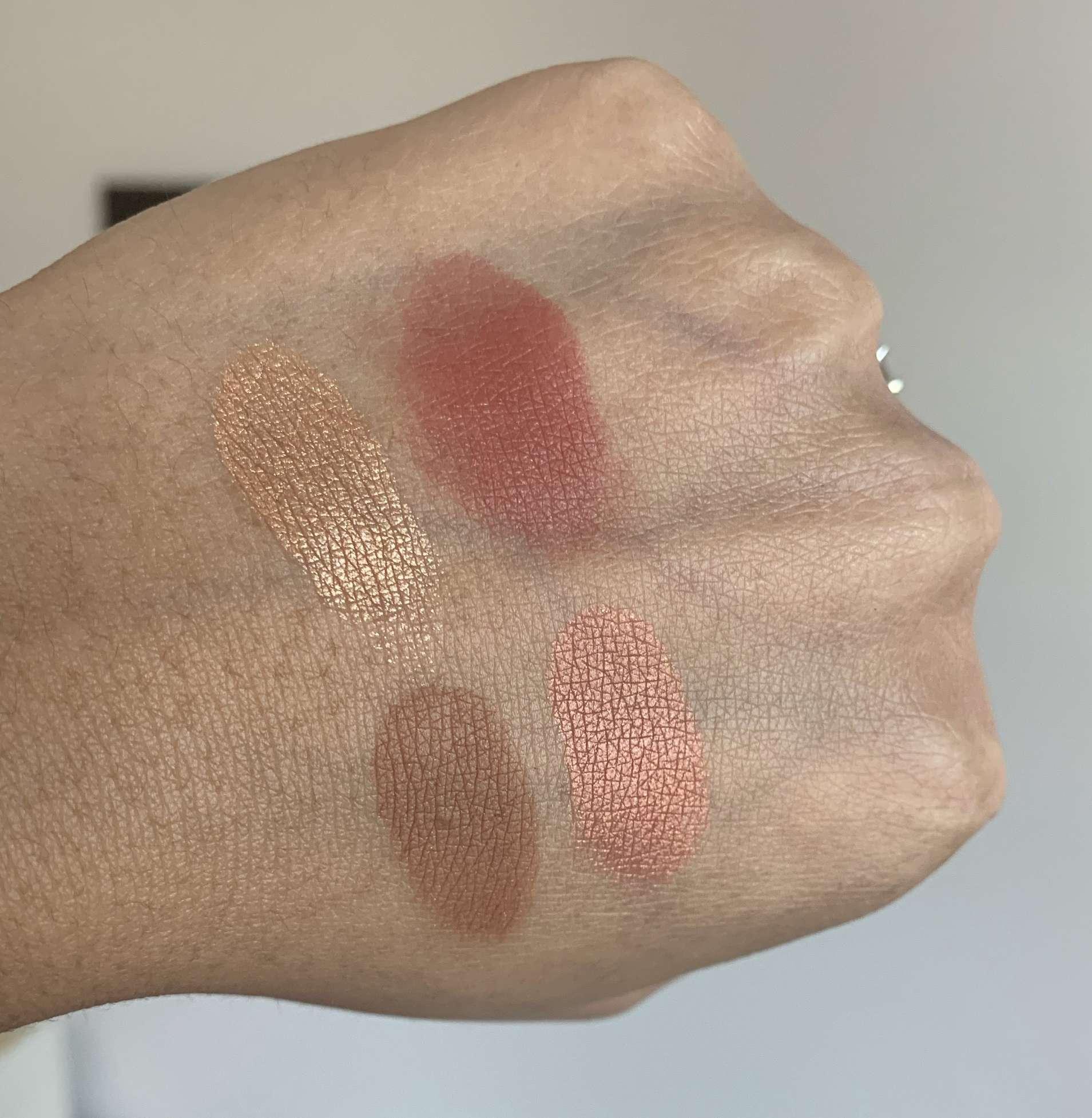 Sephora Microsmooth Multi-tasking Baked Face Palette in Captivate Swatches on Medium Dark Skin
