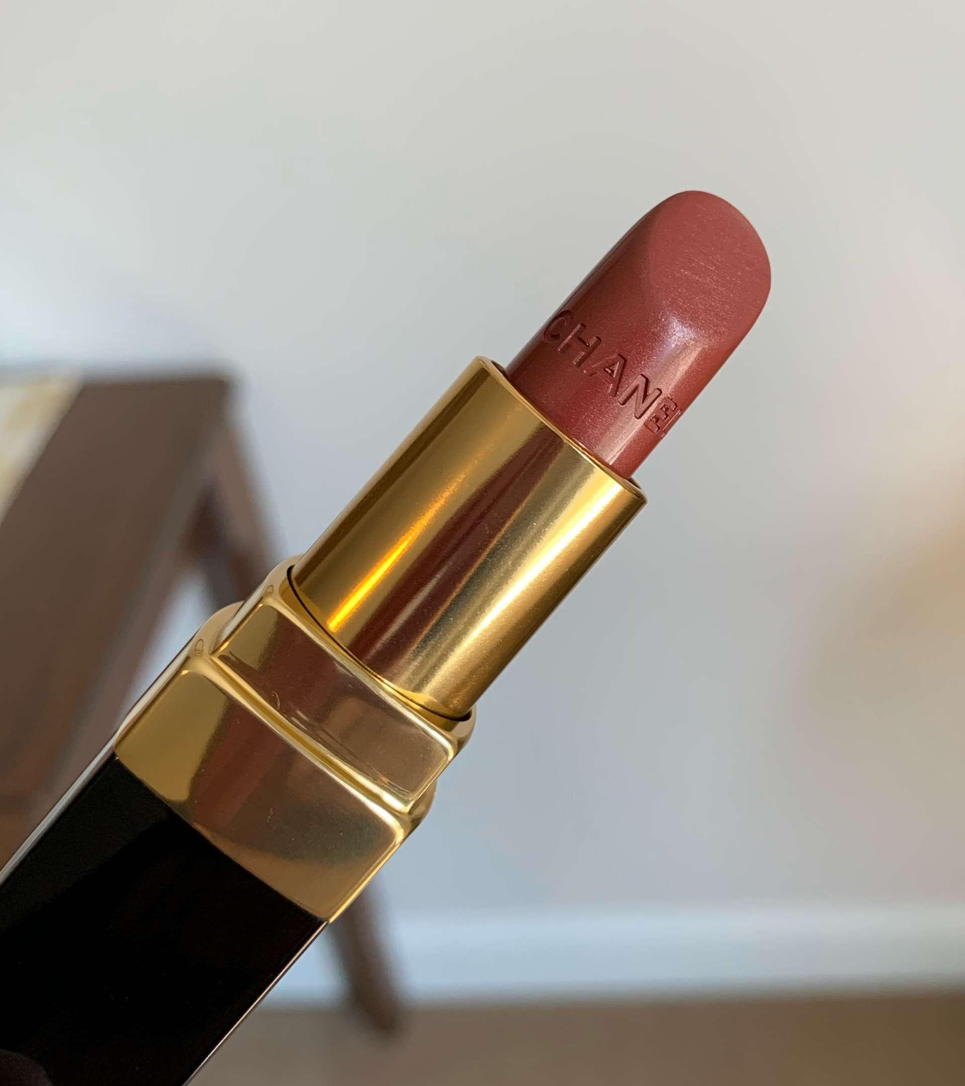 Chanel Rouge Coco Ultra Hydrating Lipstick 406 Antoinette Swatch on Medium Dark Skin