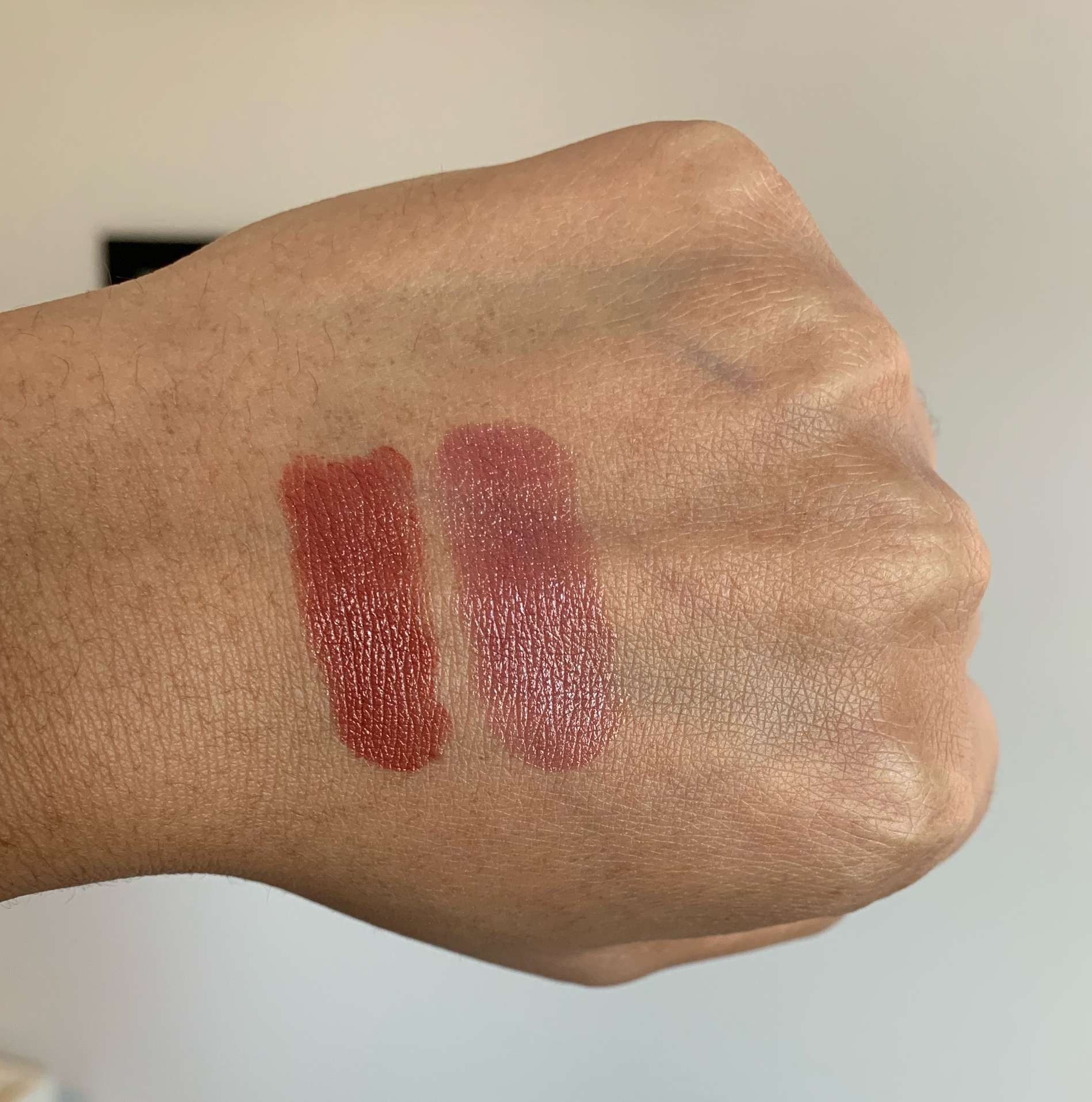 Chanel Rouge Coco Ultra Hydrating Lipstick 406 Antoinette and 436 Maggy Swatches on Medium Dark Skin