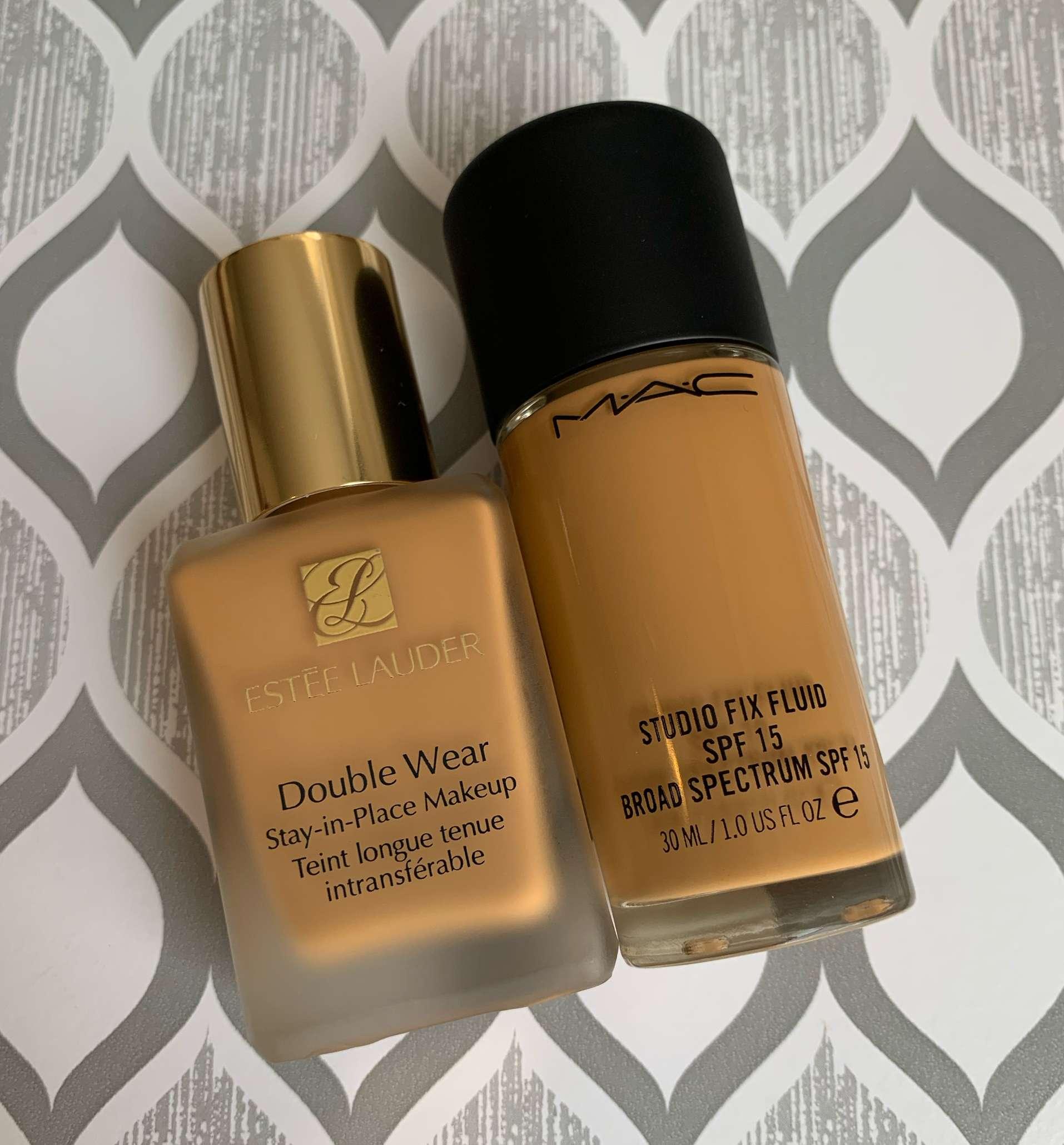 Estee Lauder Double Wear 4W4 Hazel vs MAC Studio Fix Fluid C8